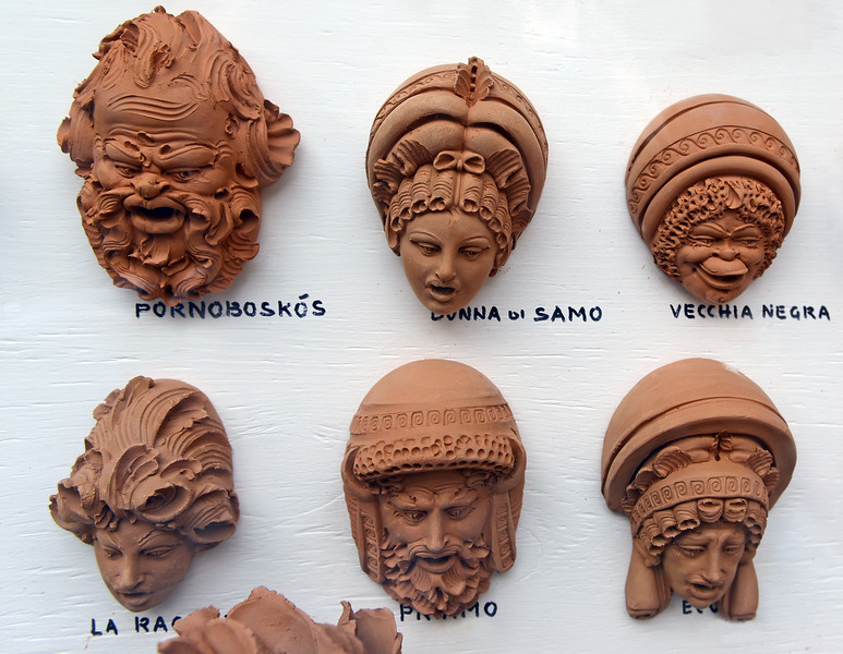 Finely crafted clay figure heads on Lipari island, Italy