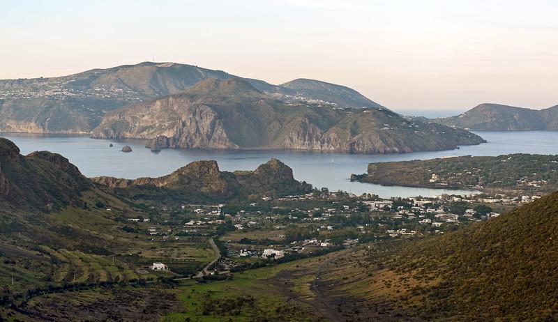 Porto di Ponente on Vulcano, with Lipari island in the background