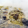 Sulphur deposits at superheated steam vents along the crater of Vulcano, Italy