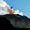 Red hot lava explosion at the Stromboli summit crater, Italy