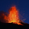 Fiery eruption of molten lava from Stromboli's crater, Italy