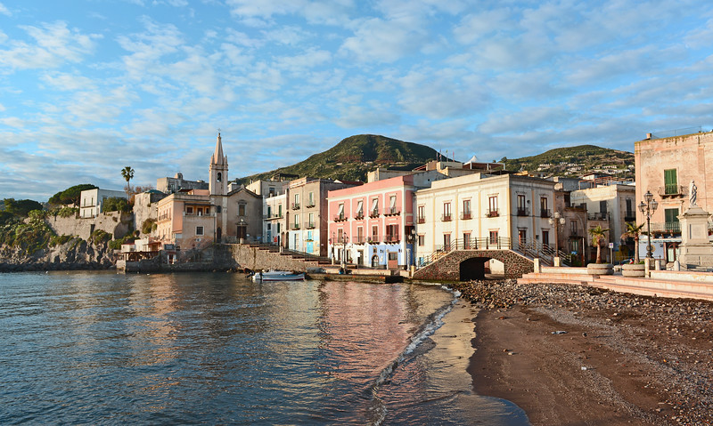Early morning at Lipari's seafront, Italy