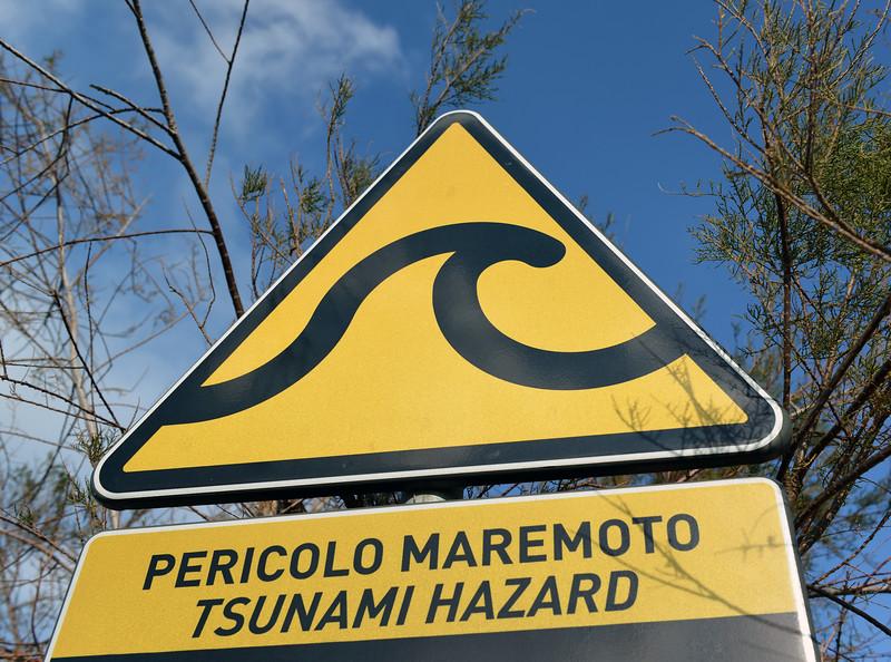 Street sign in Stromboli town, Italy