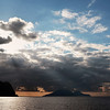 Weather front passing over the islands of Lipari, Salina and Filicudi, Italy