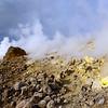 Sulphur-rich fumaroles along the crater of Vulcano island, Italy
