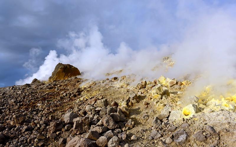 Sulphur-rich fumaroles along the crater rim of Vulcano island, Italy