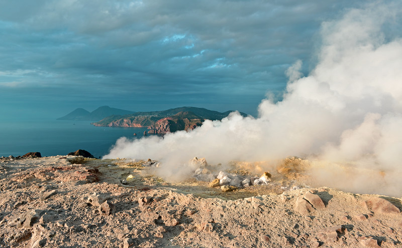 Steam vents and sulphur deposits on Vulcano island, Italy