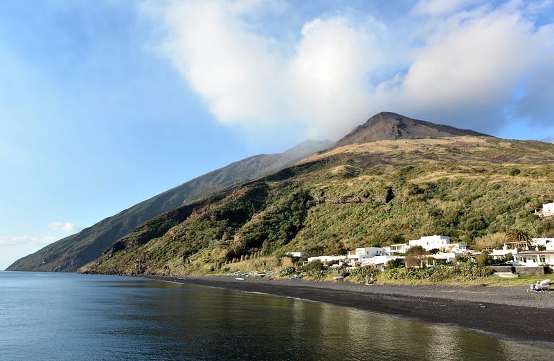 Sunrise over Stromboli's active volcano, italy