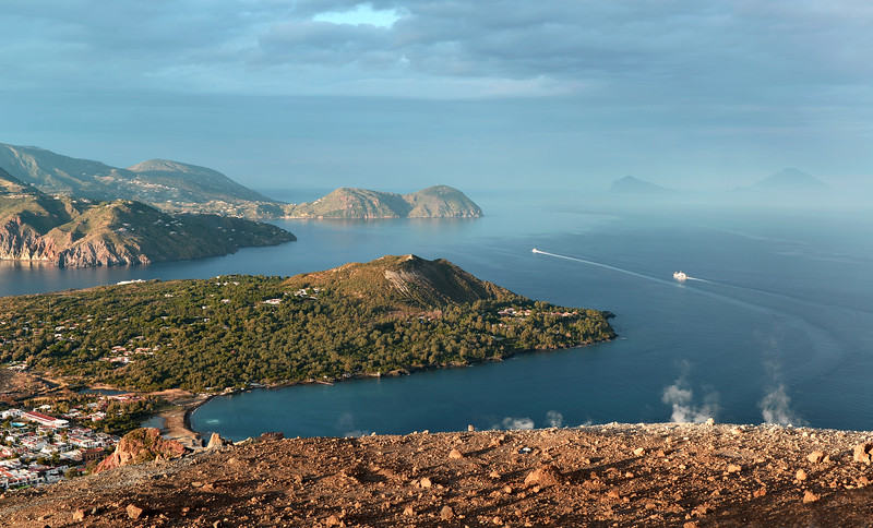 View from Vulcano over the Lipari, Panarea and Stromboli islands, Italy