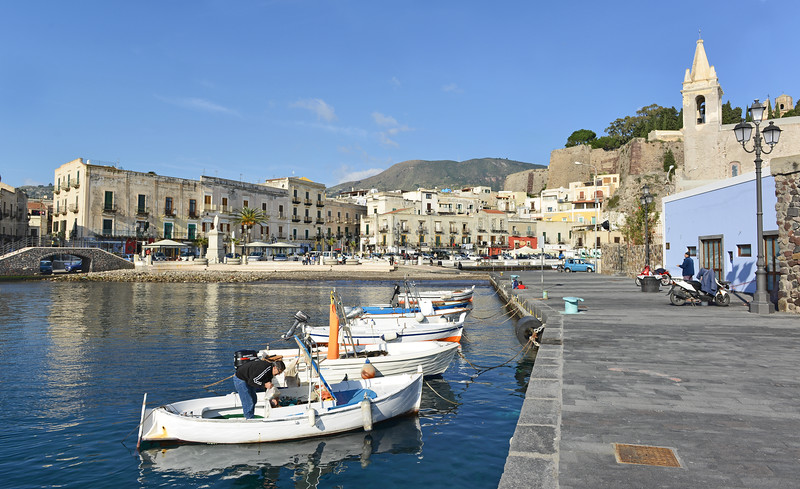 Sea front of Lipari town, Italy