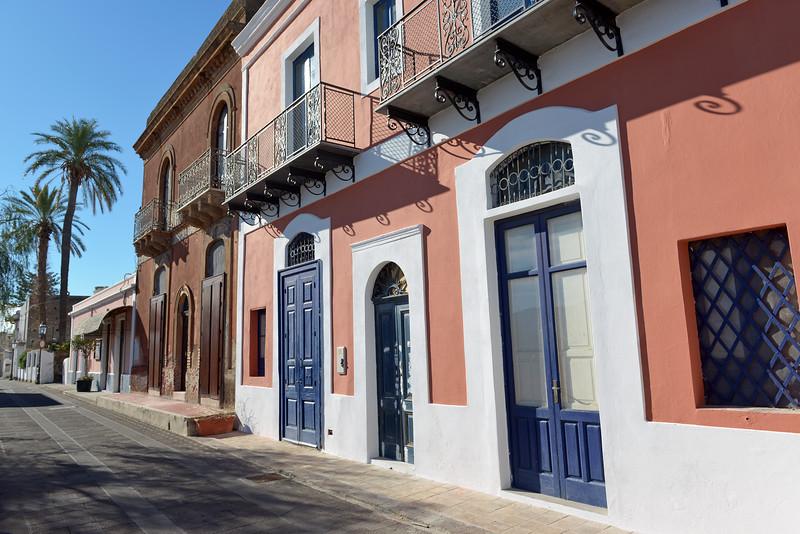 Part of main street on Salina island, Italy