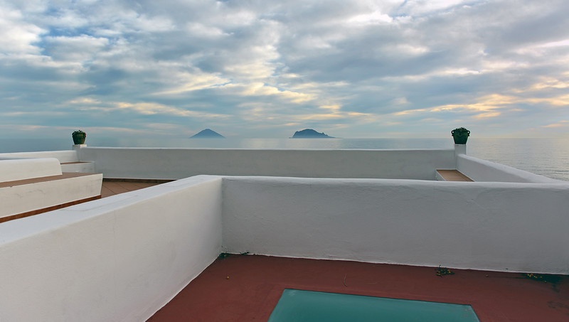 Early morning view from Salina island towards Stromboli (left) and Panarea, Italy