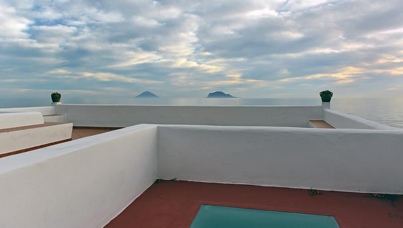 Early morning view from Salina island towards Stromboli (left) and Panarea, Italy