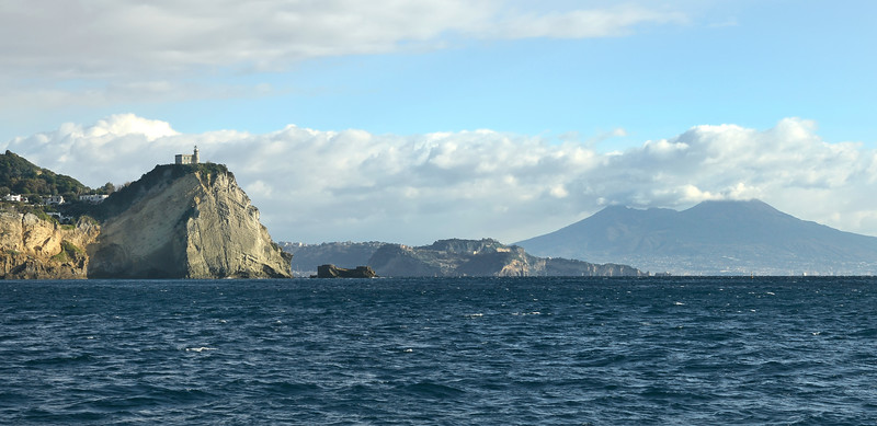 Bay of Naples (Italy), with Capo Miseno in the foreground and the Vesuvius in the background