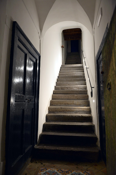 Staircase in traditional home on the island of Salina, Italy