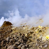 Sulphur-rich fumaroles along the crater rim of Vulcano island, Italy