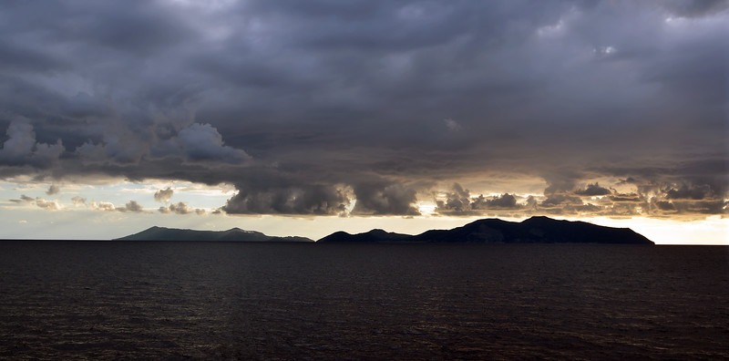 Low clouds over the Vulcano and Lipari islands, Italy
