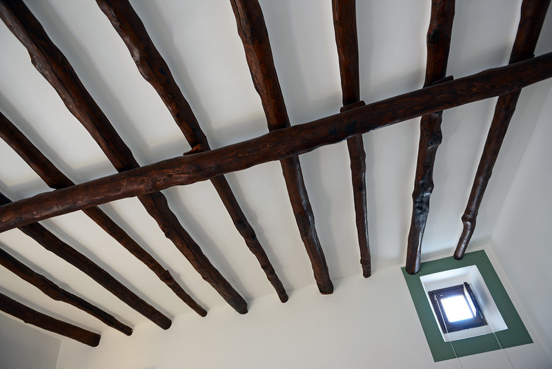 Wooden beams in restored home on Salina island, Italy
