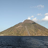 Classic shape of volcanic island : Stromboli in the Tyrrhenian Sea, Italy