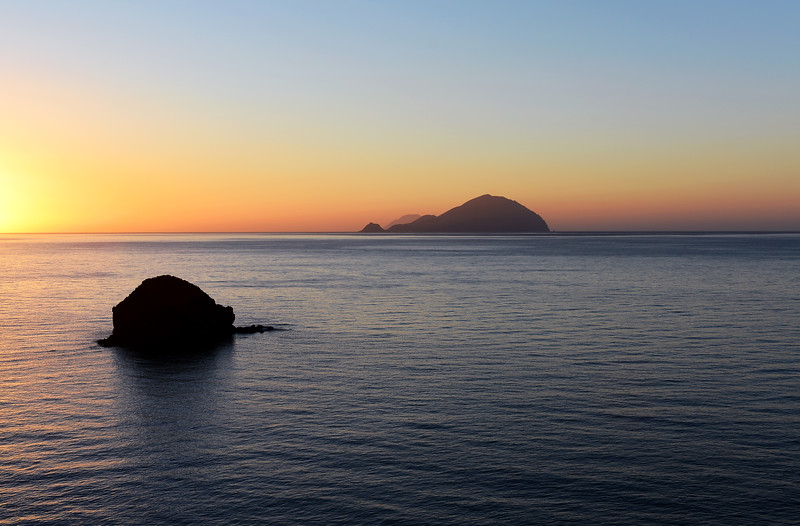 Fading light over the islands of Filicudi and Alicudi in the Tyrrhenian Sea, Italy