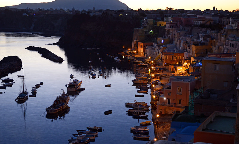 Winter afternoon over Marina Corricella on the island of Procida, Italy