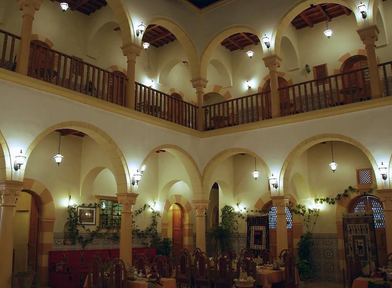 Covered courtyard of the Ottoman era Zumit hotel in Tripoli, Libya