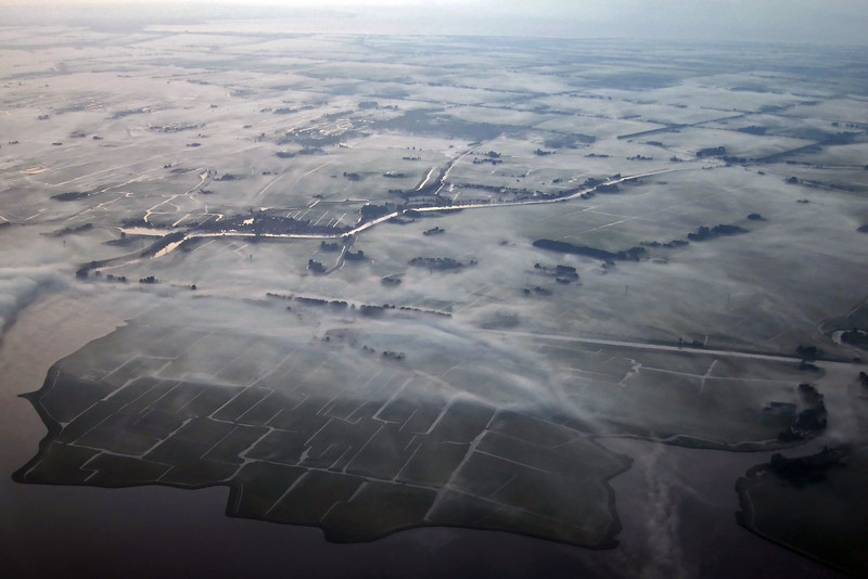 Early morning ground fog over polder near Alkmaar, The Netherlands