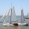 Classic sailing ships on the Wadden Sea, The Netherlands