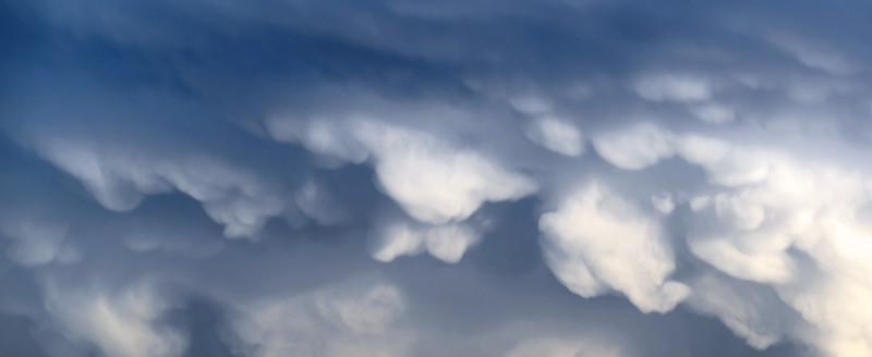 Underside of violent thunderstorm with 'mamma' cloud formation, The Netherlands