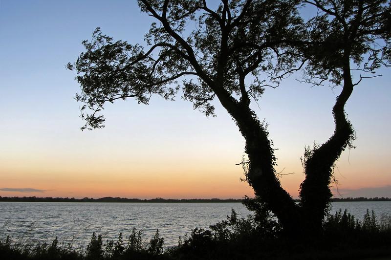Summer sunset over the Loosdrecht peat lakes, The Netherlands
