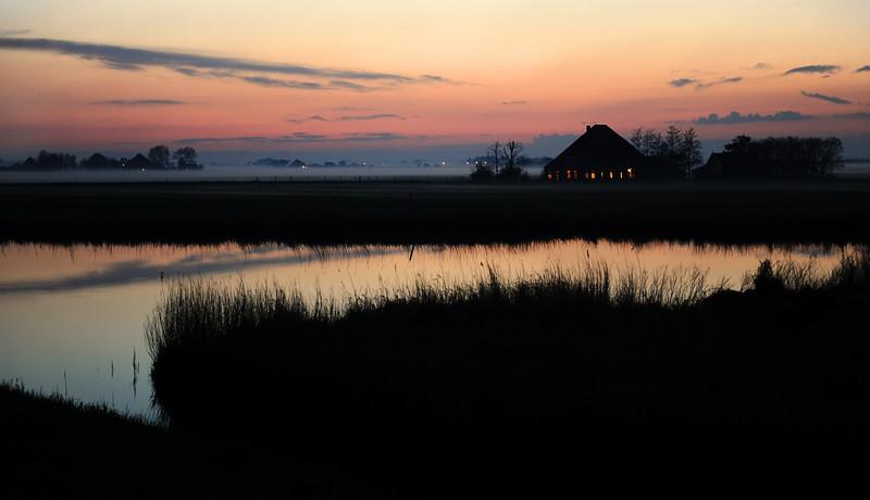 Early evening ground fog in polder near De Rijp, The Netherlands