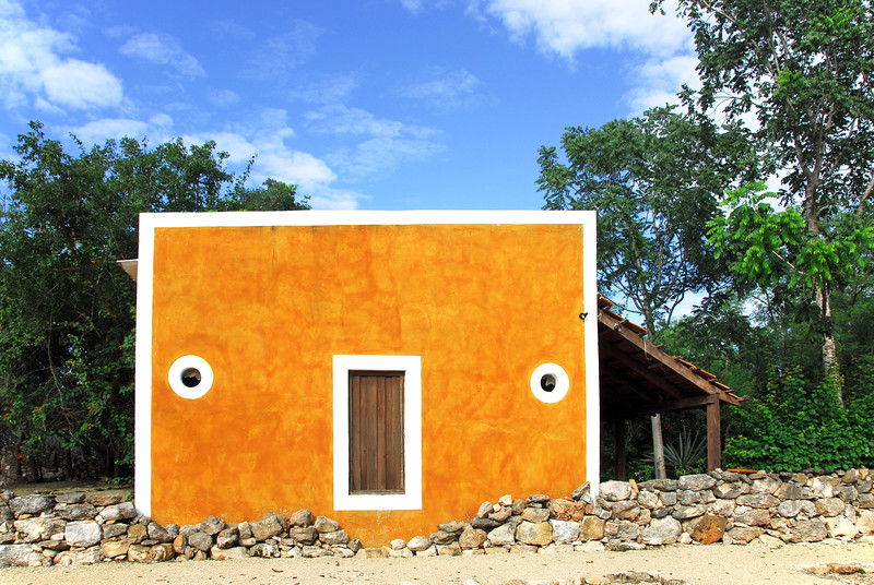Restored rural shed in the grounds of Hacienda San Pedro Orchil in central Yucatan, Mexico