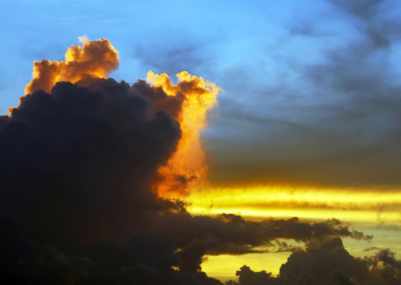 Fast rising thunderstorm at sunset over the east coast of Yucatan, Mexico