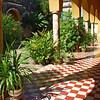 Arched patio at Hacienda Yaxcopoil in west Yucatan, Mexico