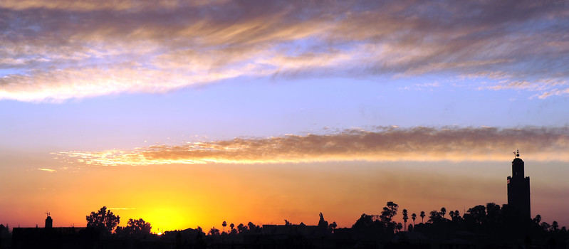 Winter sunset over Marrakech, Morocco