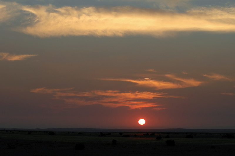 Red sunset over the desert near Swakopmund, Namibia