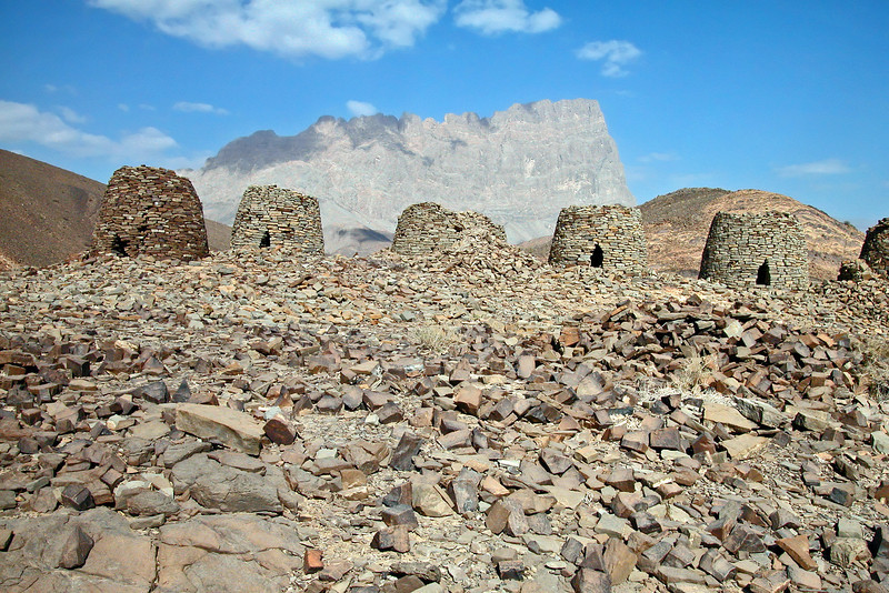 Hilltop row of ancient 'beehive' tombs (3rd millenium BC) at Bat, Oman