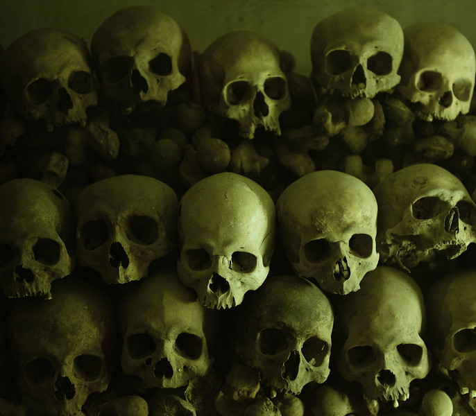 Skulls in the crypt of Lima Cathedral, Peru
