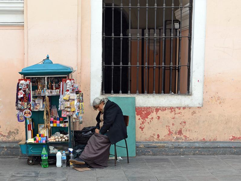 Holy symbols induce peaceful siesta in Lima, Peru