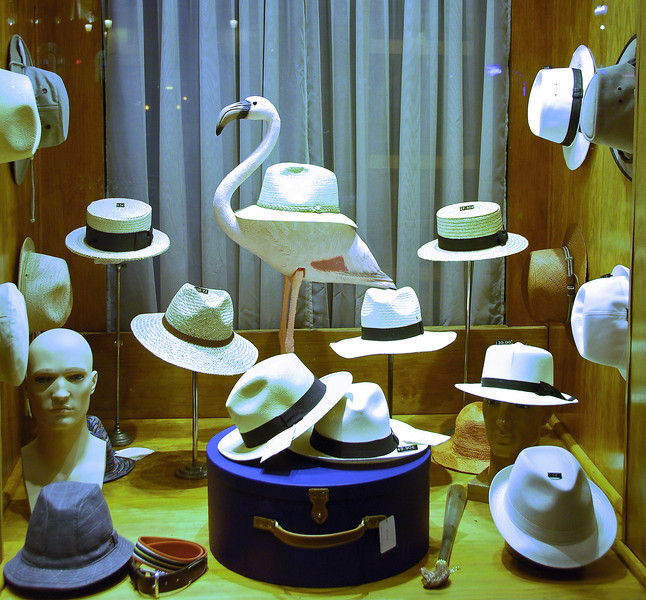 Stylish hat shop in Lisbon, Portugal