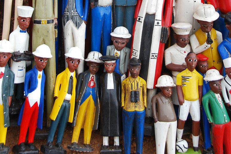 Colorful wooden statues, South Africa
