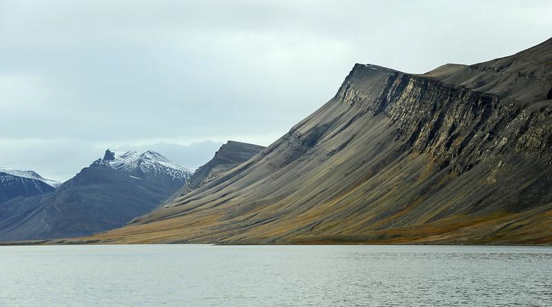Coastal scenery along the northern Van Keulenfjorden, Svalbard