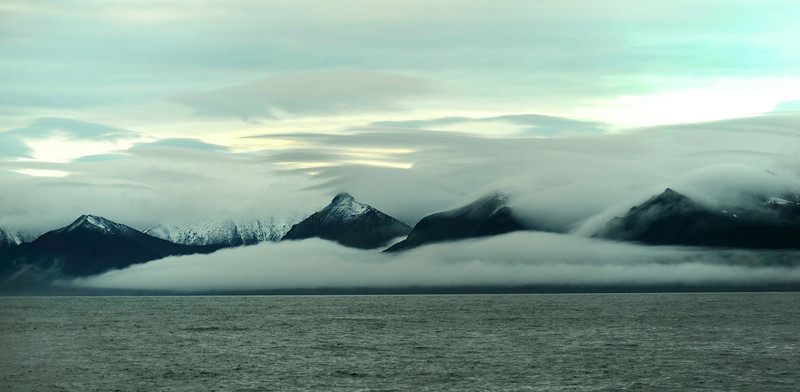 Late evening coastal fog along the west coast of Wedel Jarlsberg Land, Svalbard