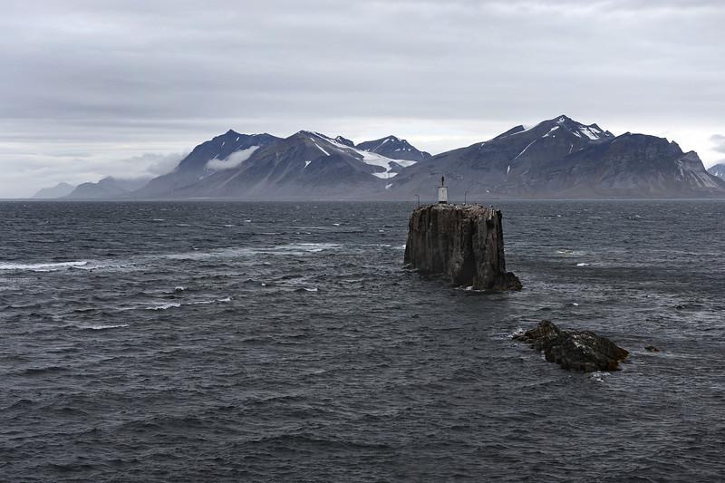 Festningen lighthouse at the entrance to Isfjorden, west Svalbard, Norway