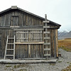 Polar bear proof refuge (Skottehytta) in the inner Billefjorden, Svalbard