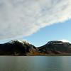 Sunrise over the Bravaisberget (775 m), Annaberget (648 m) and Louiseberget (710 m) in the western Van Keulenfjorden, Svalbard
