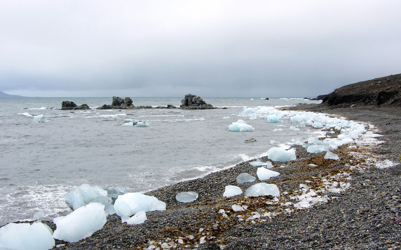 Ice blocks stranded on pebbly beach along the outer Hornsund, Svalbard