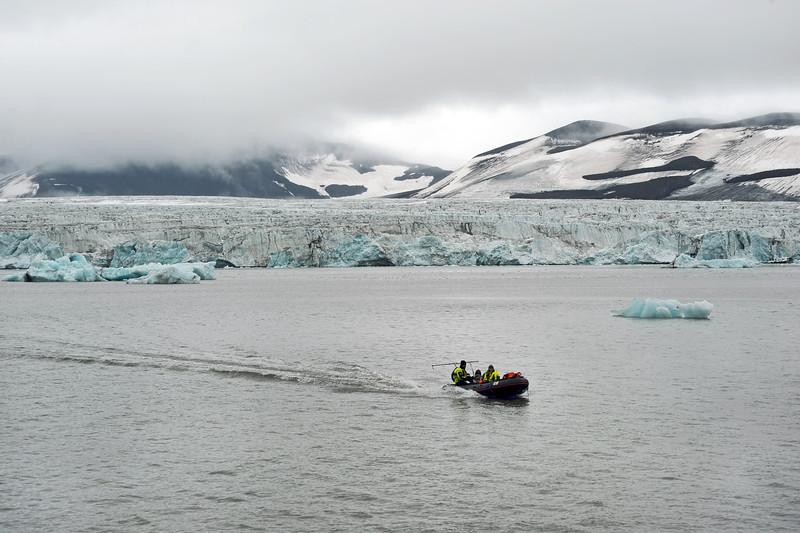 Researchers returning to base from the Stor glacier (inner Hornsund), Svalbard