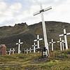 Historical coal miners graveyard near Longyearbyen, Svalbard