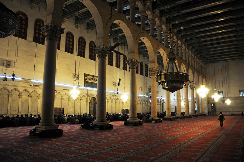 Prayer time at the Umayyad Mosque in Damascus, Syria